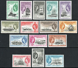 Falkland Islands Dependencies 1L19-1L33, MH. Ships, 1954