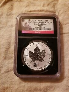 2016 Canada Maple Leaf Panda Privy Pf69 Black Case