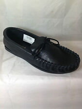MENS BLACK REAL LEATHER MOCCASIN SLIPPERS,ENGLISH, BOAT SIZE 8 shoes hand made
