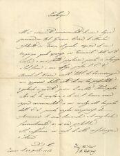 Lettera e Busta Autografo Giovanni Battista Cassinis Torino a Conte Casati 1862
