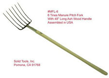"6 Tines Forged Manure Pitch Fork! W/ 48"" U.S. Ash Wood Handle! Assembled in Usa!"