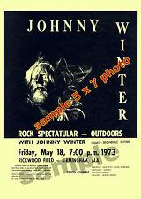 JOHNNY WINTER 1973  rare hand bill on 5 X 7 photo Still Alive & Well Alabama