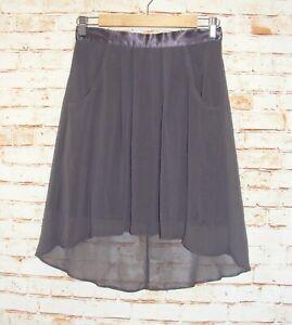 Miss Selfridge party skirt size 10 hi-low mini/below knee sheer chiffon dk grey