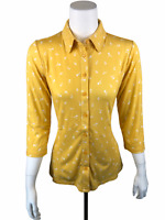Isaac Mizrahi Women's Ditsy Floral Printed Button Front Knit Top X-Small Size
