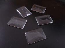 10pcs 23mm x 33mm RECTANGLE Glass Cabochon Dome Tile CLEAR Transparent