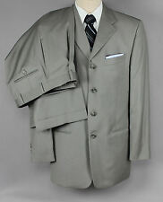 40R PIERRE CARDIN 4 Button Gray Suit 30x28 Lined Pleats Cuffs ~FABRIC FLAW~