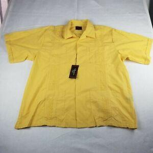 Maximos Yucatan Mexico Yellow Casual Button Up Shirt Size 4XL Guayabera SS