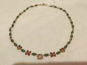 BEAUTIFUL JADE 18K GOLD NECKLACE RUBY, AMETHYST, SAPPHIRE AND OTHERS