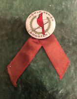 1926 St. Louis Cardinals World Series Baseball Pin Booster W/ Ribbons! Babe Ruth
