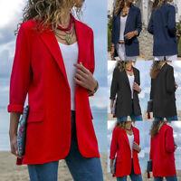 AU Women's Long Sleeve Casual Plain Front Open Coat Ladies Blazer Suit OL Jacket