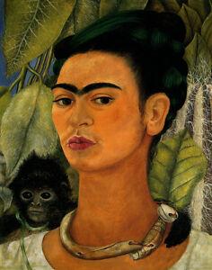 Frida Kahlo Self Portrait With Monkey #1 Canvas Print 16 x 20     #5002
