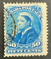 "Canada Scott #47 50 Cent Blue ""Small Queen Fine Used ST20"