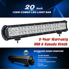 20INCH 126W CREE Led Light Bar Flood Spot Work Driving Offroad Jeep 4WD SUV ATV