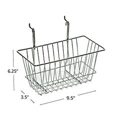 Chrome Wire Basket in Silver Finish 12W x 6D x 6.25H Inches - Set of 2
