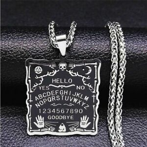Stainless Steel Wiccan Occult Gothic Black Magic Ouija Board Pendant Necklace