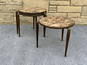 Set of 3 Mid Century Danish Modern Round Stacking Tables in Flux Marble Formica