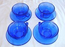Hazel Atlas Moderntone Cobalt Blue Depression Glass Cup and Saucer-4