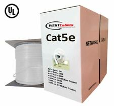 1000ft Cat5e Riser Cable Pure Copper Solid  UL LISTED Ethernet Wire  White