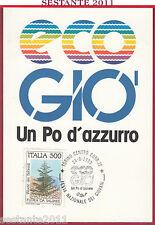 ITALIA MAXIMUM MAXI CARD FESTA GIOVANI ECO GIO' UN PO D'AZZURRO 1989 TORINO B947