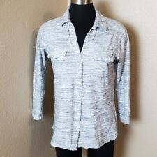 James Perse 3/4 Sleeve Button Front Gray Blouse Size 2 Medium M