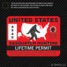 United States Sasquatch Hunting Permit Sticker Die Cut Decal Bigfoot 13igfo0T