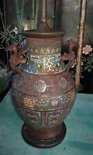 Antique Asian Bronze Champleve Cloisonne Enamel Vase Lamp