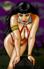 Vampirella tombstone sexy vampire horror comics 11x17 signed print Dan DeMille