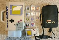 Nintendo Game Boy Lot - Console DMG-01, 2 Cases, 12 Games,Turtles, Mario,Pokemon