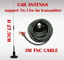 98MHz Car fm antenna sucker for 7-15W FM Transmitter- 3M coaxial Cable TNC