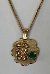 "Estate Jewelry Colombian Emerald Pendant 14K Yellow Gold 5/8"" Long"