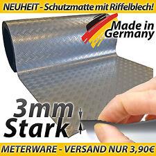 Riffelblechoptik Grill Matte Silber PVC Bodenschutzmatte Breite 100cm