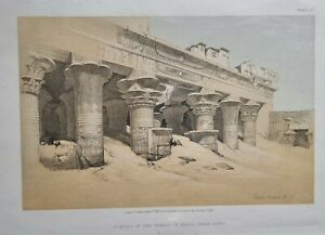 1856 DAVID ROBERTS PORTICO OF THE TEMPLE OF EDFOU UPPER EGYPT QUARTO EDITION