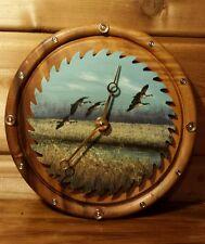 Vintage Winchester Solid Tiger Walnut Painted Saw Clock 410 Shotgun Shell Number