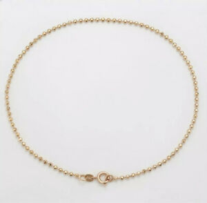 """9K 9ct Yellow """"Gold FILLED"""" Lovely Beaded ANKLE CHAIN Anklet. 10.2"""" & Gift Pouch"""