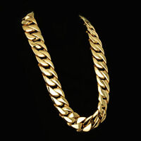 HEAVY 24mm Gold Plated Curb Link Boys Mens Chain 316L Stainless Steel Necklace