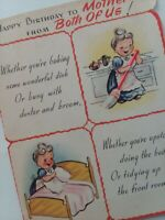 Vtg MOTHER Baking IRONING Cleaning SEWING Rust Craft BIRTHDAY GREETING CARD