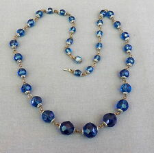 Old Vintage Graduating  Blue Faceted Crystal Capped Bead Necklace
