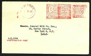 Ceylon Lipton Tea Company Cover with Meter Stamps Colombo to USA 1946