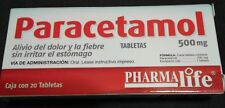 PARACETAMOL 500mg - 20 TABLETAS - PARA Dolor / ADULT Pain Relief - FREE SHIP