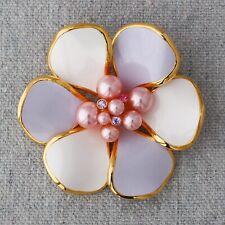 Joan Rivers Lavender Pink Cream Enamel Pearl Rhinestones Floral Flower Brooch