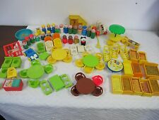 FISHER PRICE VINTAGE LITTLE PEOPLE LOT FURNITURE BEDS TABLES CHAIRS STAIRS 84 PC