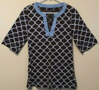 Tommy Hilfiger Womens Dark Brown Blue & White 3/4 Sleeve Stretch Knit Top Size M