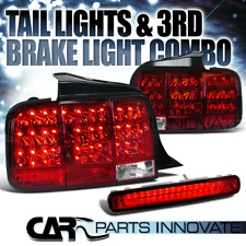 2005-2009 Ford Mustang Red/Clear Sequential LED Tail Lights+3rd Brake Lamp