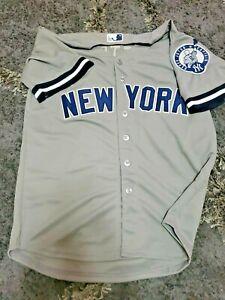 New York Yankees #2 Derek Jeter Away Gray Jersey w Retirement Patch Size Large