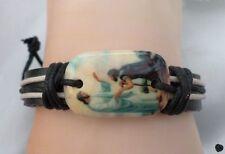 Bracelet Cuir Tressé Style Surfeur Perle Os De Yak Jésus Apôtre Réglable Unisexe