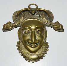 Antique BAMILEKE Cameroon BRASS HIP FACE MASK Snakes Eating Frog TRIBAL AFRICAN