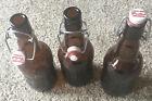 Vintage Grolsch Georgia Embossed Amber Beer Bottle Lot of 3 Porcelain Swing Cap