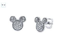 Topolino Diamante Disney Delicato Argento Sterling Orecchini Bottone