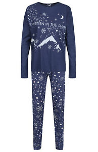 LADIES PYJAMAS SNOWFLAKE STARS EX UK STORE NIGHT WEAR PJ GIFT SET 6-20 BRAND NEW