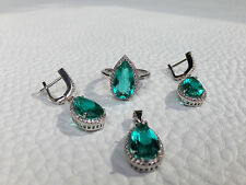 925 Sterling silver Jewelry set earrings, necklace, ring,green
